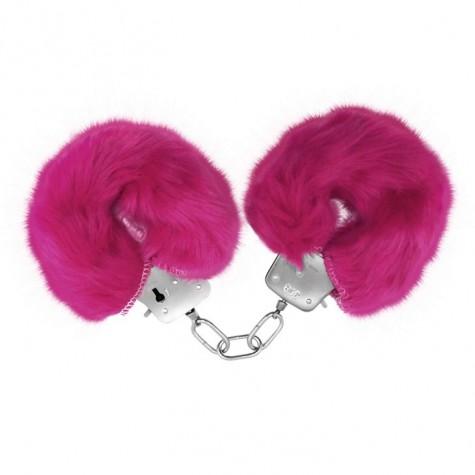 Розовые меховые наручники Love с ключиками